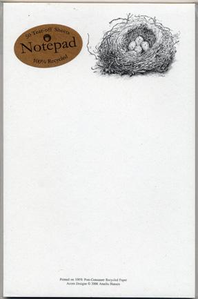 Cedar Waxwing Nest Notepad