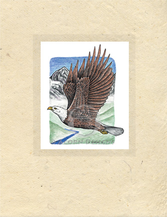 Bald Eagle Lokta Card
