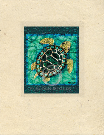 Baby Sea Turtle Lokta Card