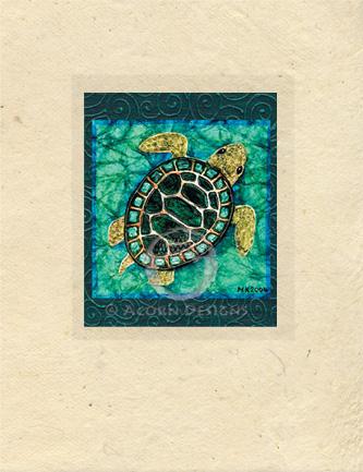 Baby Sea Turtle Lokta Card